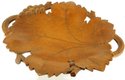 Rare! Vintage Carved Wood Grapes Leaves Walnut Reuge Music Box 1930's Compote