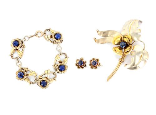 Vintage Sterling Silver Harry Iskin Floral Bracelet Brooch Earrings Matching Set