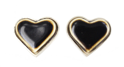 Vintage Sterling Anton Michelsen Royal Copenhagen Modernist Heart Earrings 1969