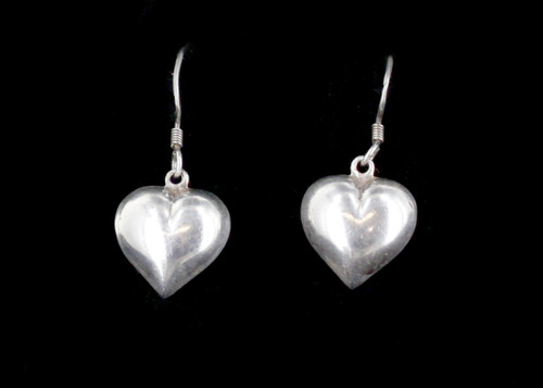 Vintage Cute Sterling Silver 925 Puffy Heart Dangle Drop Earrings- Medium Size