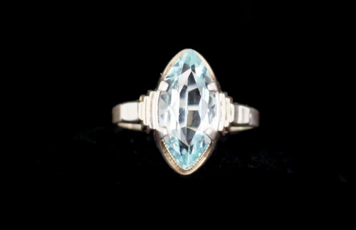 Antique Art Deco Sterling Silver Light Blue Marquis Cut Paste Stone Ring 6.5