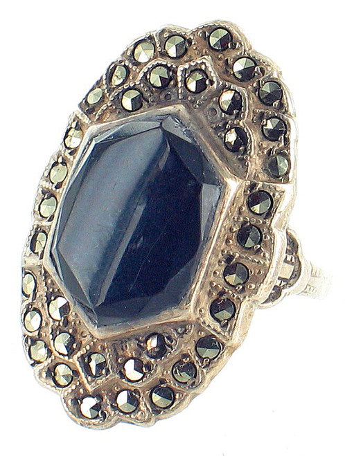 Antique Sterling Art Deco Marcasite Onyx Oval Statement Ring  Pretty! Size 6.5