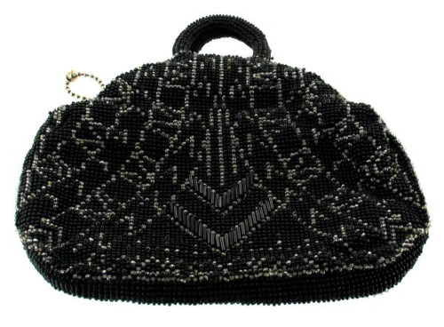Antique Czech Deco Black Chevron Zig Zag Glass Bead Evening Bag Purse Lovely!