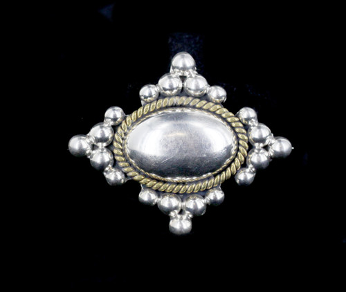 Vintage Mexico Sterling Silver Gold Vermiel Modernist Puffy Balls Pin Pendant