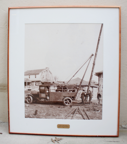 "Antique 1927 Bell Telephone Philadelphia Real Photograph Framed ""Setting A Pole"""