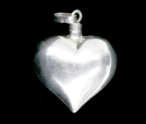 Vintage Sterling Silver 925 Mexico Puffy Heart Perfume Bottle Pendant