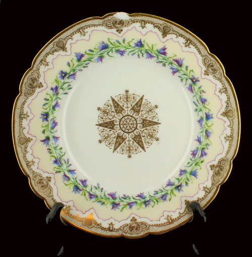 Antique Nouveau HP Sevres Porcelain Purple Iris Flower Rimmed Soup Bowl France
