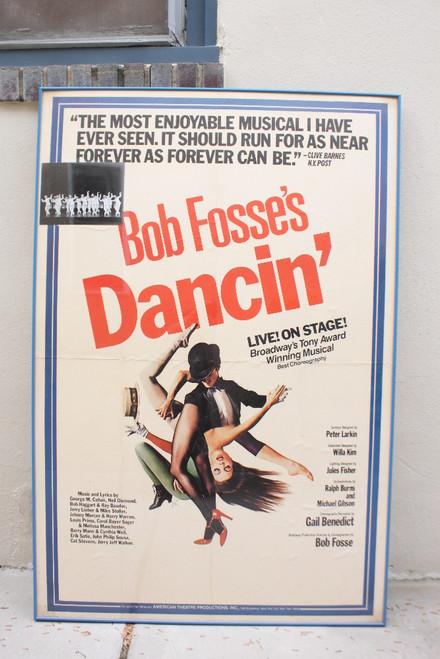 "Vintage Bob Fosse's Dancin' Original American Theater Poster Verdon Reinking Huge 60"" H x 40"" W Framed"