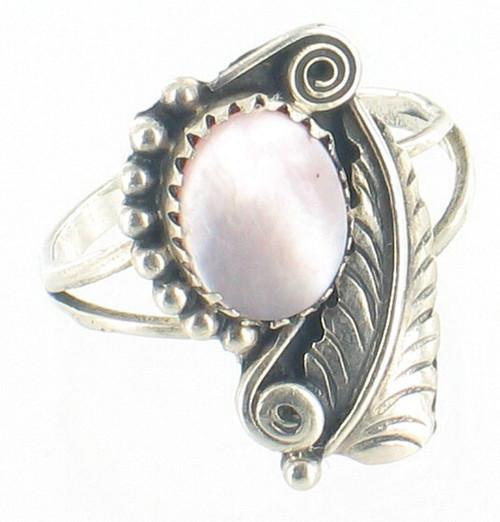 Old Pawn Navajo Sterling Sam Roanhorse Pink Mother Of Pearl MOP Feather Ring 8.5