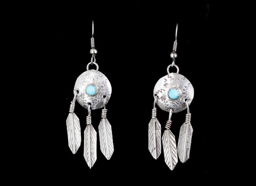 Vintage Native American Navajo Sterling Silver Turquoise Shield Feather Earrings