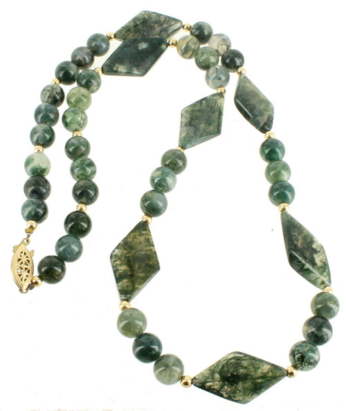 Vintage 14k Gold Filled GF Green Dendritic Moss Agate Grey White 9.5mm & Diamond Shaped 30mm Bead Necklace 25""