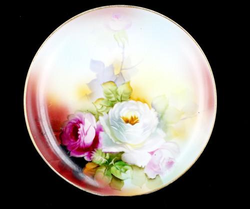 Antique Noritake Hand Painted Vibrant Floral Rose Porcelain Plate Signed T Honde