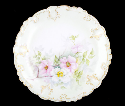 Antique GDA Limoges France Floral Dogwood Flower Porcelain Plate Signed B.A.B