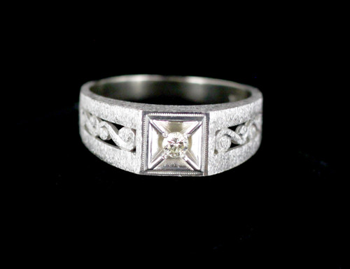 Antique Art Deco 10K Brushed White Gold Diamond Florentine Finish Ring 9.5