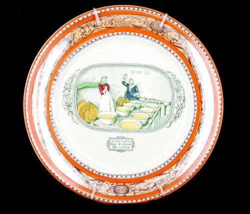 """Antique Adams """"Lorna Doone"""" England Annie Learns To Churn Cream Wall Cab Plate"""