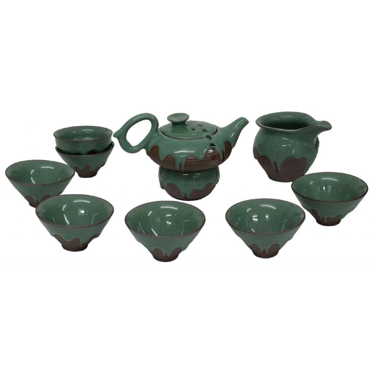 Chinese Green Iced Luxury Tea Set with Jug and Strainer - Gift Boxed