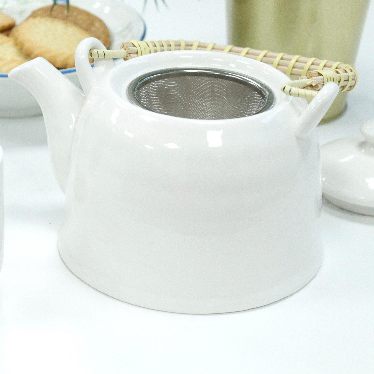 Chinese Herbal Tea Set - Classic White - 6 Cups and Infuser - Boxed