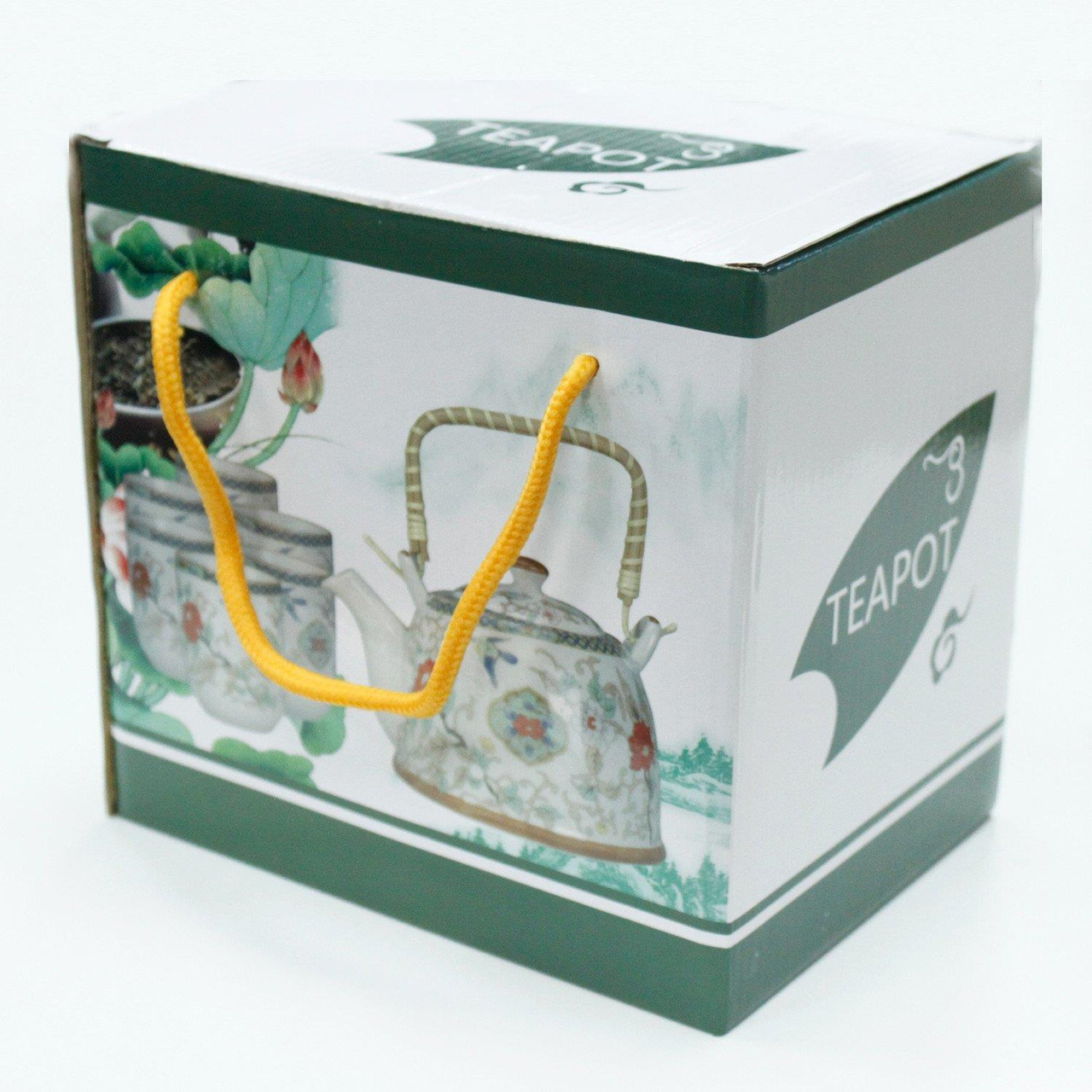 Chinese Herbal Tea Set - Chinese Fans - 6 Cups and Infuser - Boxed