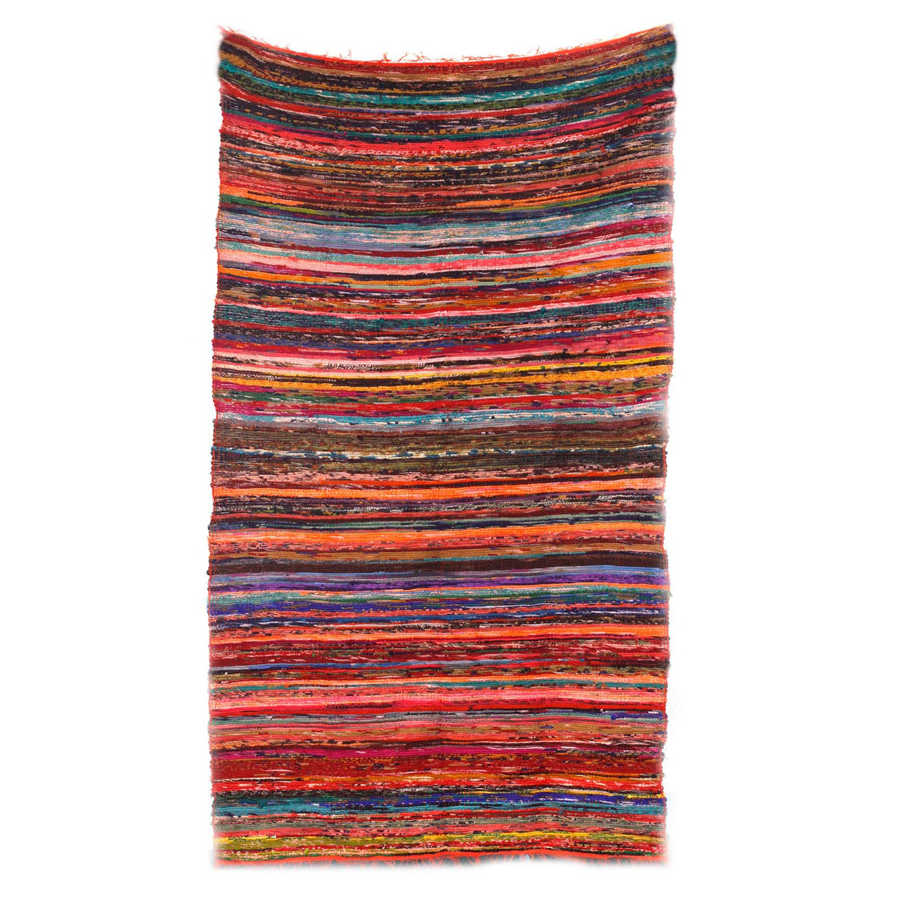 Luxury Rag Rug - Recycled Material - 150cm x 90cm - Hand Woven - Orange