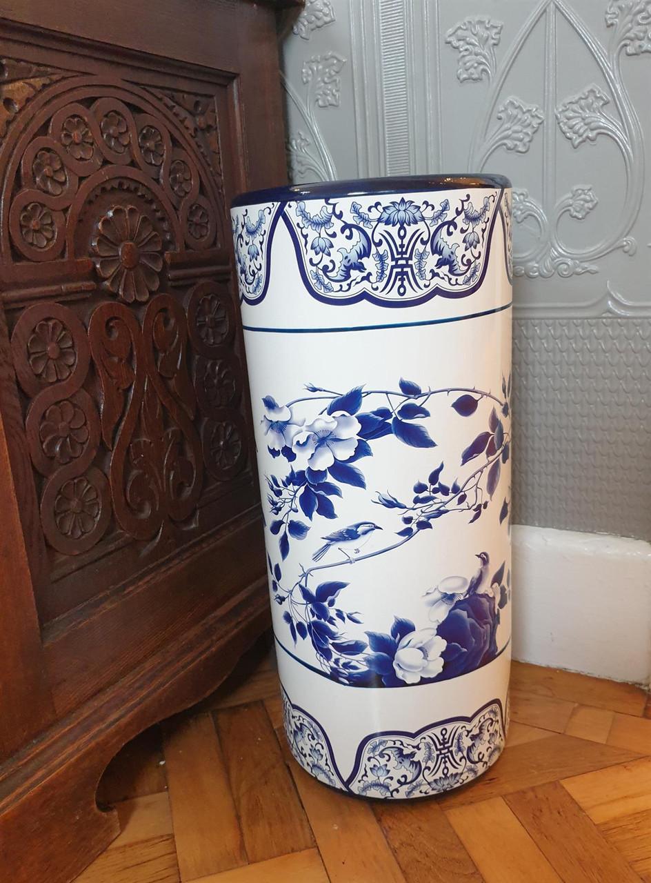 Umbrella Stand / Stick Holder - Chinese Ceramic - Rambling Rose Pattern