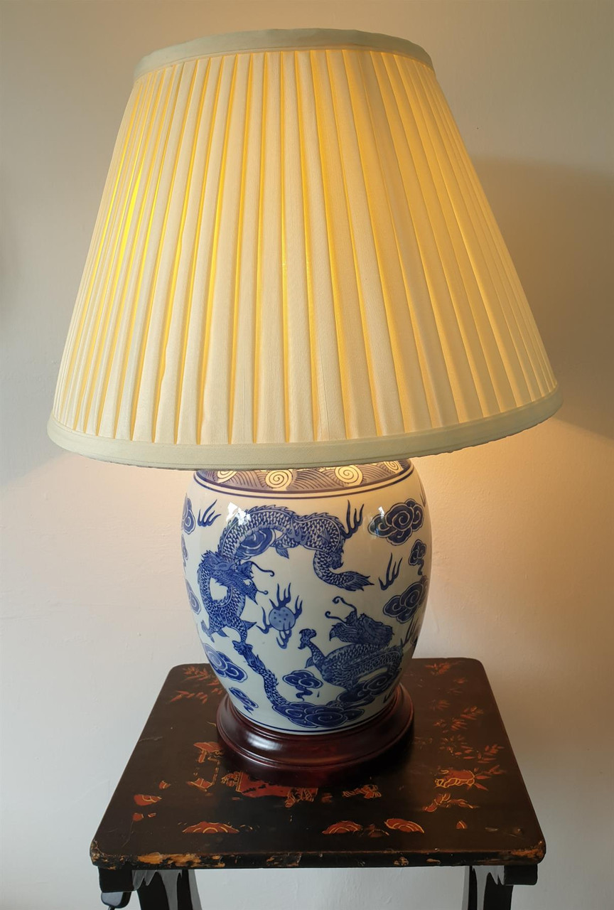 Pair of Chinese Round Jar Table Lamps with Shades - Blue Dragons