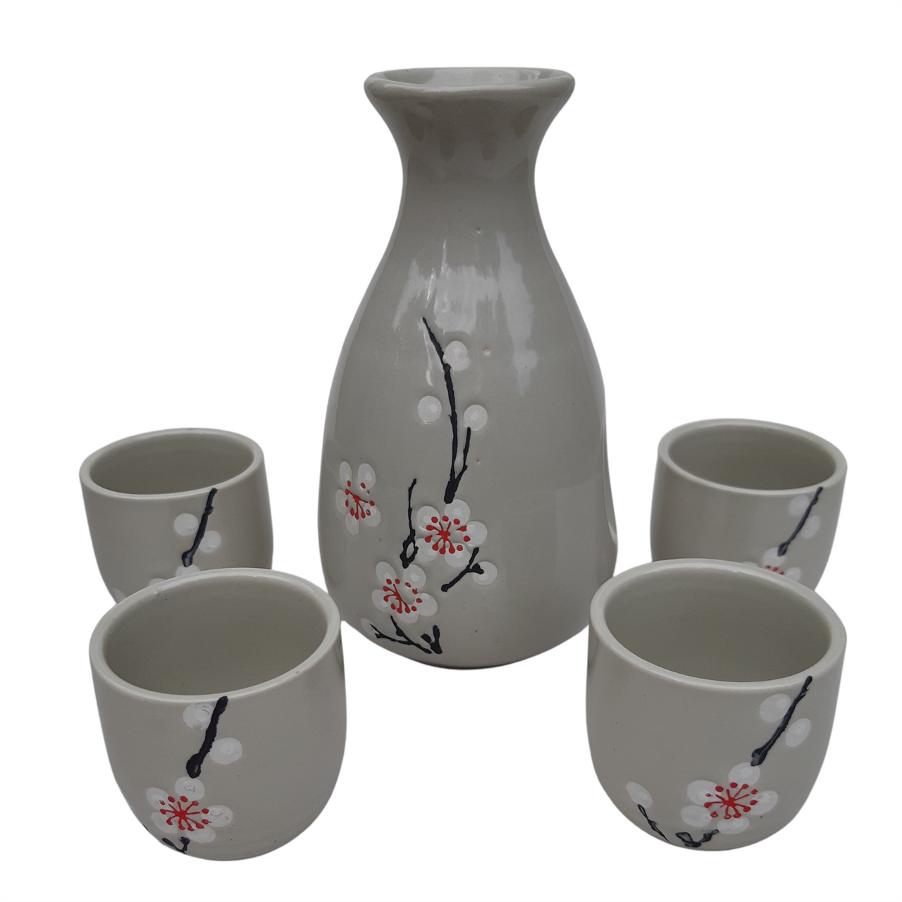 Sake Set with Grey Blossom Sprig Pattern - Ceramic Flask and Cups - Boxed