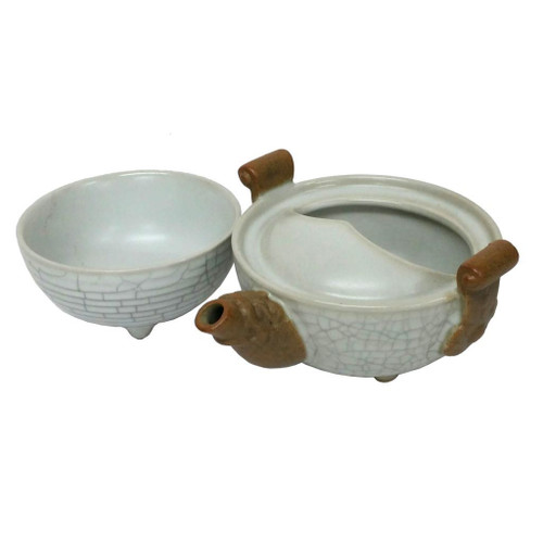Chinese Dragon Egg Tea Set for One - Dragon Egg Shape - Wooden Gift Box