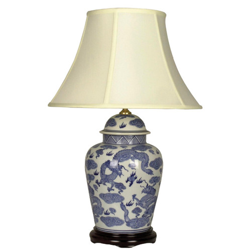Pair of Chinese Tall Jar Table Lamps with Shades - Blue Dragons