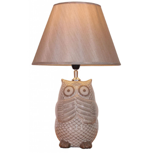 Pair of Chinese Owl Shaped Table Lamps with Golden Shades