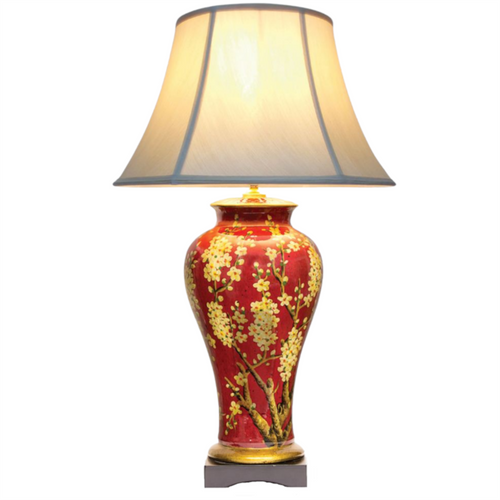 Pair of Chinese Jar Table Lamps with Shades - Red Jasmine Blossom