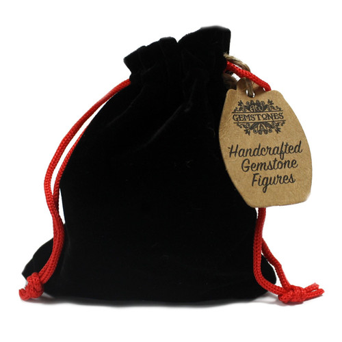 Gemstone Buddha - Rose Quartz - Hand Carved - Velvet Gift Pouch