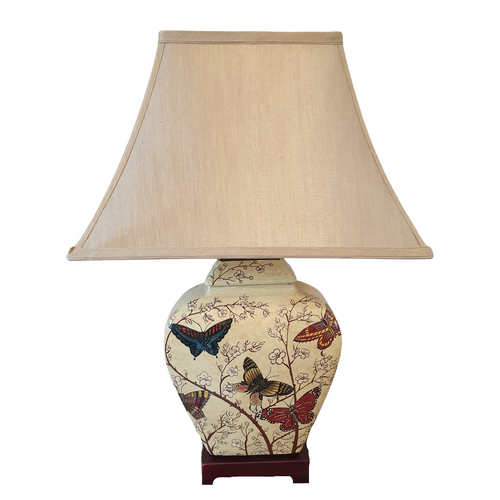 Pair of Chinese Table Lamps with Shades - Butterfly / Blossom Pattern