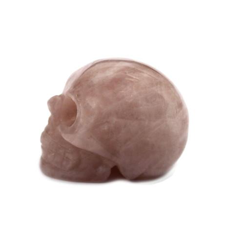 Gemstone Skull - Rose Quartz - Hand Carved - Velvet Gift Pouch