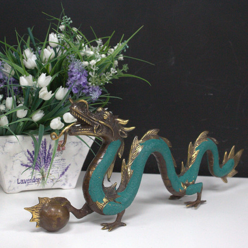 Vintage Style Brass Dragon with Ball - Medium Size 26cm - Feng Shui