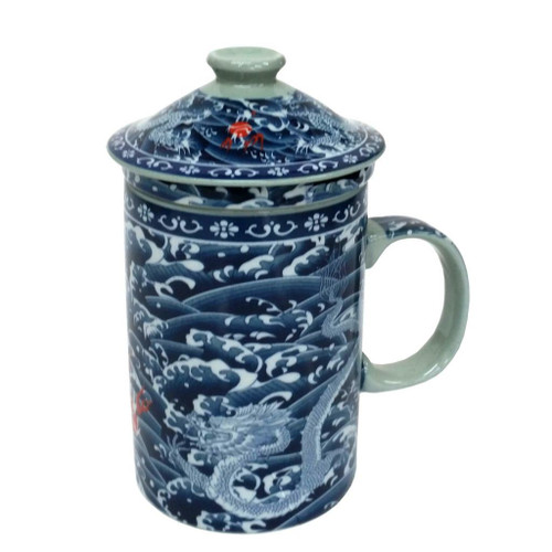 Porcelain Chinese Tea Mug with Infuser and Lid - Two Dragon Pattern