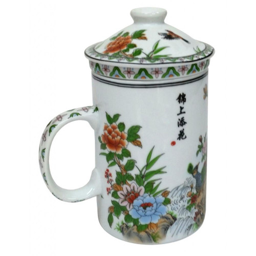 Porcelain Chinese Tea Mug with Infuser and Lid - Peacocks Pattern