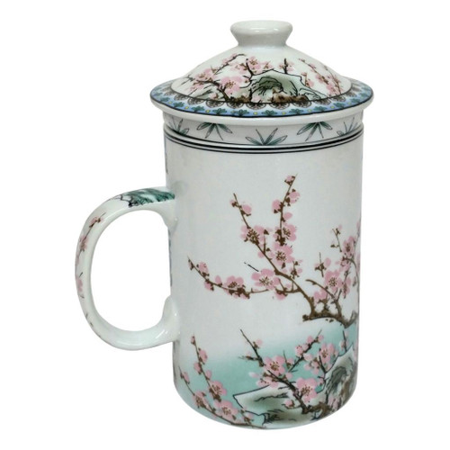 Porcelain Chinese Tea Mug with Infuser and Lid - Bao Qin Pattern