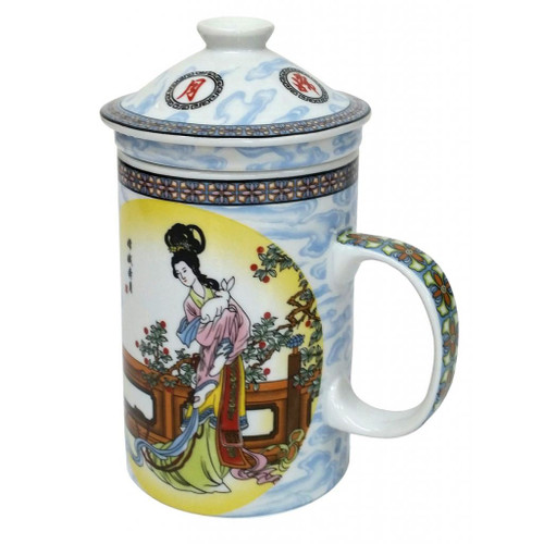 Porcelain Chinese Tea Mug with Infuser and Lid - Chang He Pattern
