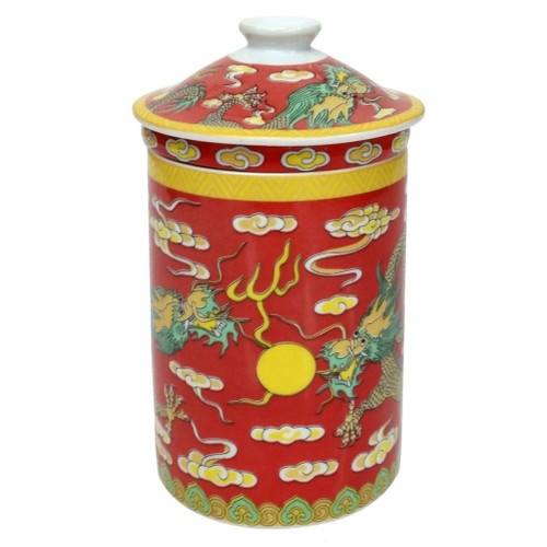 Porcelain Chinese Tea Mug with Infuser and Lid - Red Dragon Pattern