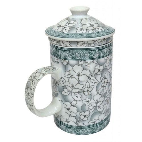 Porcelain Chinese Tea Mug with Infuser and Lid - Jasmine Blossom Pattern