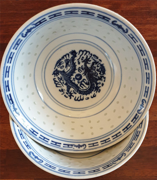 Chinese Blue and White Bowls - Rice Pattern - Set of 2 - 18cm Diameter