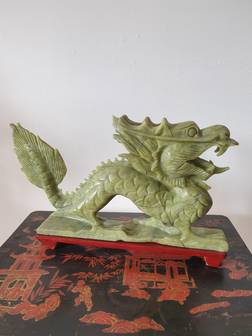 Chinese Jade Dragon Statue - Hand Carved - 30cm - Wooden Stand