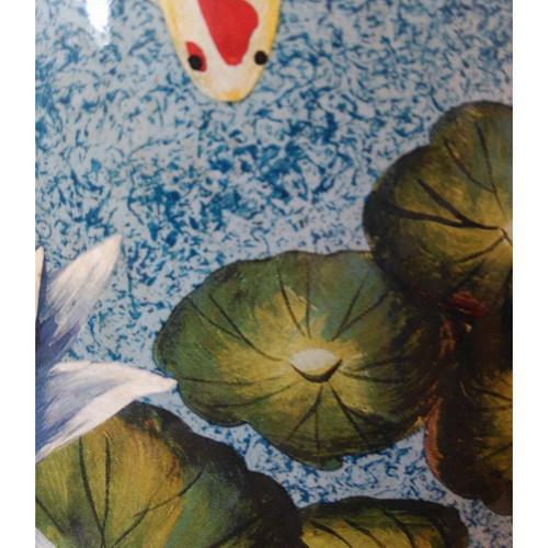 Chinese Ceramic Stool / Plant Stand - Koi Carp and Waterlilies Pattern