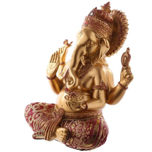 Gold and Red Ganesh Resin Figurine - Crystals and Brocade Details - 17cm