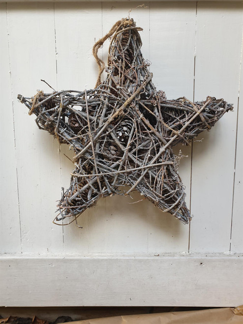 Whitewashed Woven Twig Star with Pine Cones - Rustic Christmas Decoration