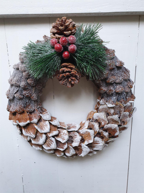Whitewashed Pine Cone Wreath - Glitter - 27cm - Christmas Decoration