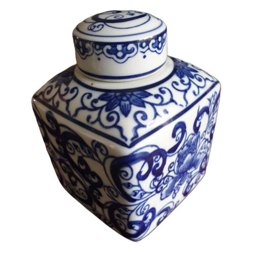 Tea Caddy / Storage Jar - Square - Chinese Blue Swirling Pattern - 14cm Tall