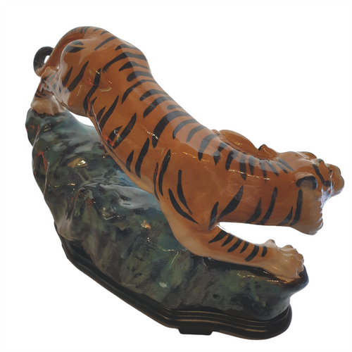 Chinese Shiwan Figurine - Prowling Tiger - Wooden Stand - 31cm