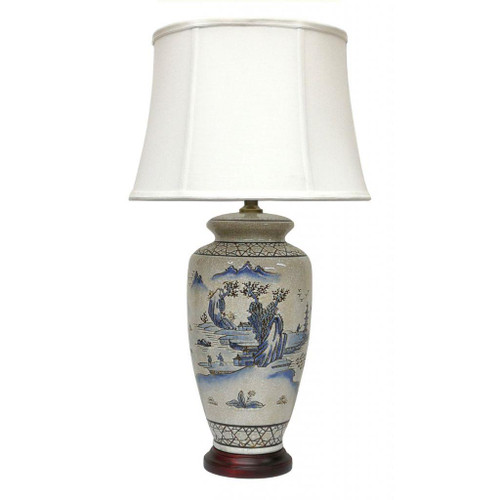 Pair of Chinese Ceramic Vase Lamps with Shades - Ancient Landscape - 69cm
