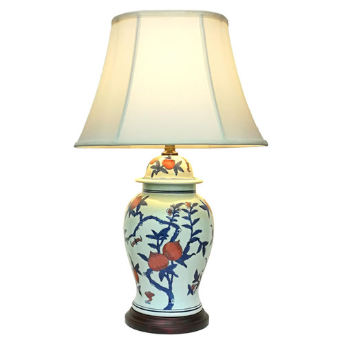 Pair of Chinese Ceramic Jar Lamps with Shades - Tao Zhi - 68cm